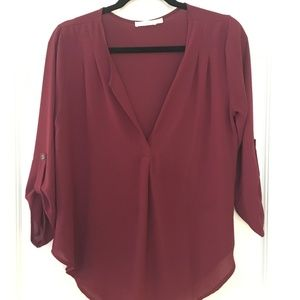 LUSH from Nordstrom  3/4 sleeve blouse maroon
